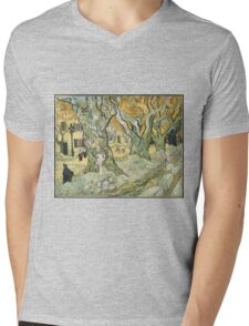 Vincent Van Gogh - The Road Menders, 1889 Mens V-Neck T-Shirt