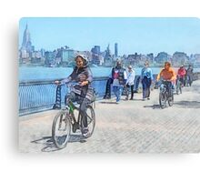 Bicycling Along Pier A Hoboken NJ Canvas Print