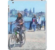 Bicycling Along Pier A Hoboken NJ iPad Case/Skin
