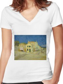 Vincent Van Gogh - The yellow house, September 1888 - 1888 Women's Fitted V-Neck T-Shirt