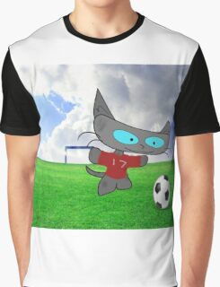 Cat Soccer Star Graphic T-Shirt