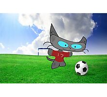 Cat Soccer Star Photographic Print