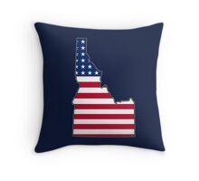American flag Idaho outline Throw Pillow