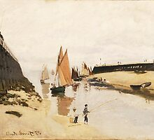 Claude Monet - Breakwater at Trouville.  Low Tide  by famousartworks