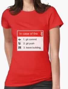 In case of fire Git commit Git push Womens Fitted T-Shirt