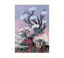Journeying Spirit (deer) sunset Art Print