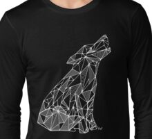 Wolf (white) - geometric Long Sleeve T-Shirt