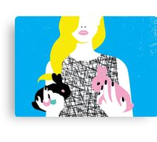 Wonderland girl with two rabbits Canvas Print