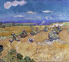 Vincent Van Gogh - Wheat Fields with Reaper, Auvers, 1890 by famousartworks