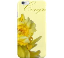 Greeting card with yellow narcissus flowers iPhone Case/Skin
