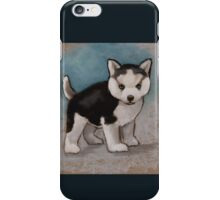 Cute Husky Puppy, Blue Eyes, Oil Pastel Painting iPhone Case/Skin