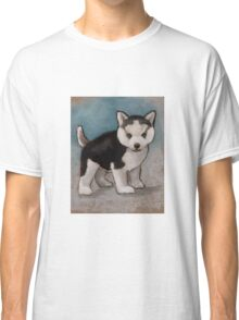 Cute Husky Puppy, Blue Eyes, Oil Pastel Painting Classic T-Shirt