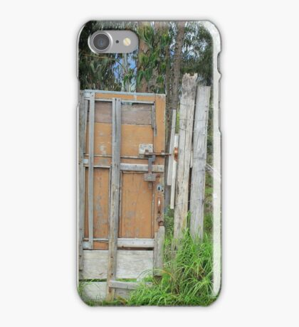 Wood Gate in a Barbed Wire Fence iPhone Case/Skin