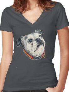 Olive Women's Fitted V-Neck T-Shirt