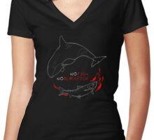 No Fish No Blackfish Women's Fitted V-Neck T-Shirt
