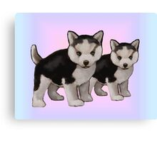 Two Blue-Eyed Husky Puppies: Original Art Canvas Print