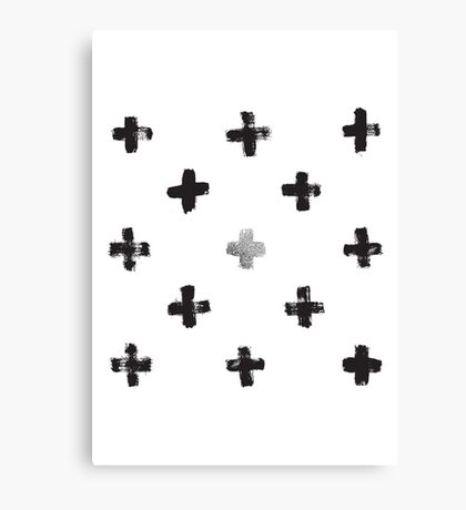 Silver and Black Swiss Cross Pattern Canvas Print