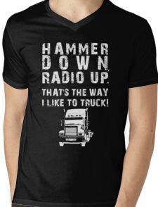 Hammer Down! (White Text/Graphic) Mens V-Neck T-Shirt