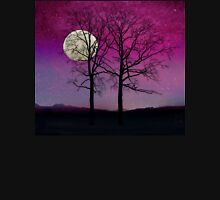 Solitude II Harvest Moon, pink opal sky stars Womens Fitted T-Shirt