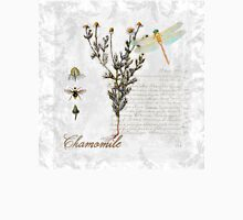 Chamomile herb Dragonfly Botanical illustration art Womens Fitted T-Shirt