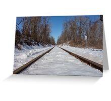 HDR Snowy Train Tracks Greeting Card