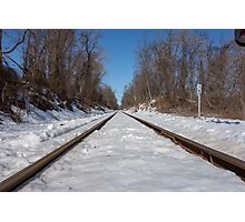 HDR Snowy Train Tracks Photographic Print