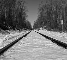 Black and White Train Tracks by CSSphotos