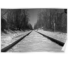 Black and White Train Tracks Poster