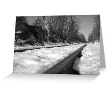 Train Tracks on a snowy winter day Greeting Card