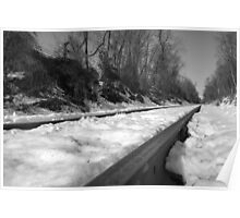 Train Tracks on a snowy winter day Poster