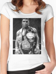 Mike Tyson Pencil Drawing Women's Fitted Scoop T-Shirt
