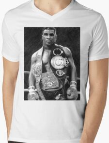 Mike Tyson Pencil Drawing Mens V-Neck T-Shirt