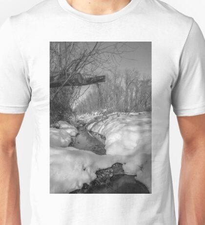 Black and White Snowy Pond Unisex T-Shirt