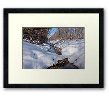 HDR Snowy pond Framed Print