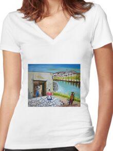Paesaggio siciliano Women's Fitted V-Neck T-Shirt