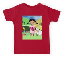 Mary Had A Little Lamb Cute Whimsy Illustration Kids Tee