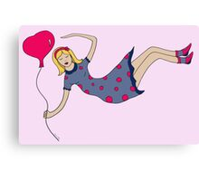 Girl With Heart Shaped Balloon Canvas Print