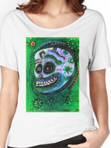 DAY OF THE DEAD White Sugar Skull with flowers Women's Relaxed Fit T-Shirt