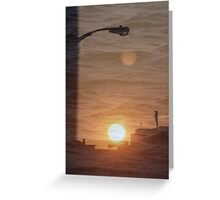 Buffalo Sunset double exposure Greeting Card