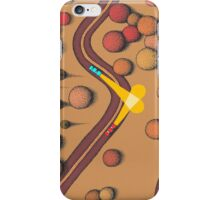 A blue car drives past a red car iPhone Case/Skin