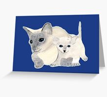Siamese Mother Cat and Kitten Greeting Card