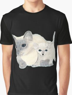 Siamese Mother Cat and Kitten Graphic T-Shirt