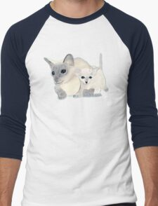 Siamese Mother Cat and Kitten Men's Baseball ¾ T-Shirt