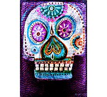 Purple Day of the Dead Sugar Skull folk art painting Photographic Print