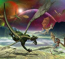 Fantasy Landscape with Dragons by art4artists