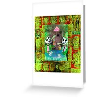 The Gamblers -  Day of the Dead  Inspired Folk Art Greeting Card