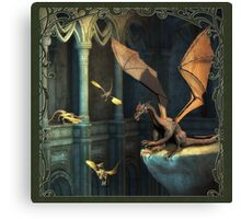 Fantasy Scene with Dragons Canvas Print
