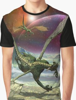 Fantasy Landscape with Dragons Graphic T-Shirt