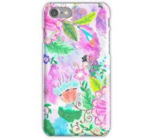 Colorful pink green watercolor hand painted floral iPhone Case/Skin