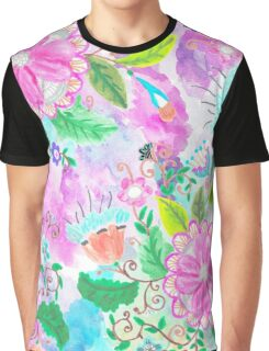 Colorful pink green watercolor hand painted floral Graphic T-Shirt